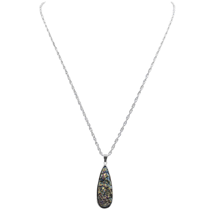 Druzy Collection - Silver Cosmic Quartz Drop Necklace