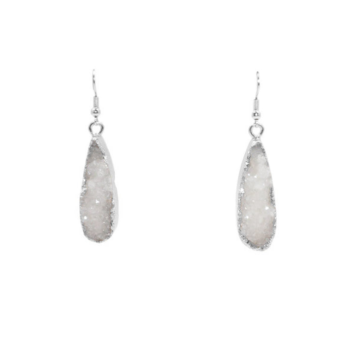 Druzy Collection - Silver Ice Drop Earrings