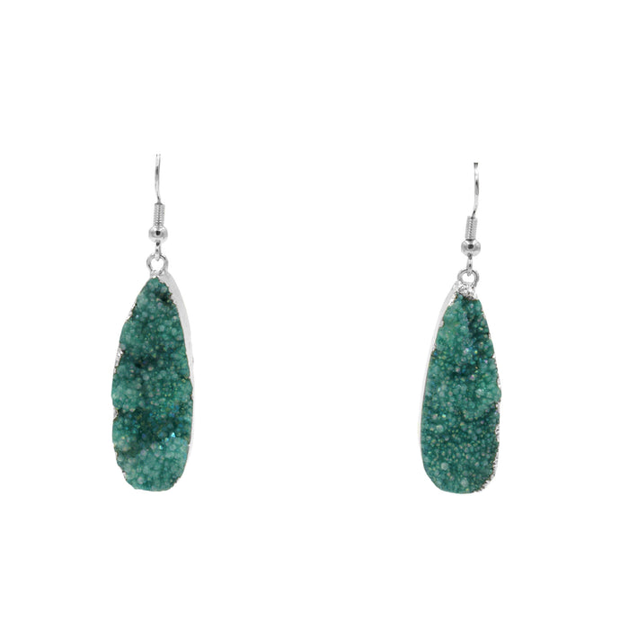 Druzy Collection - Silver Jade Drop Earrings