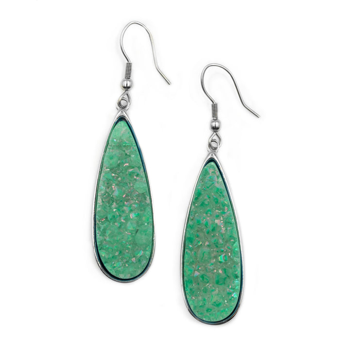 Druzy Collection - Silver Jade Quartz Drop Earrings
