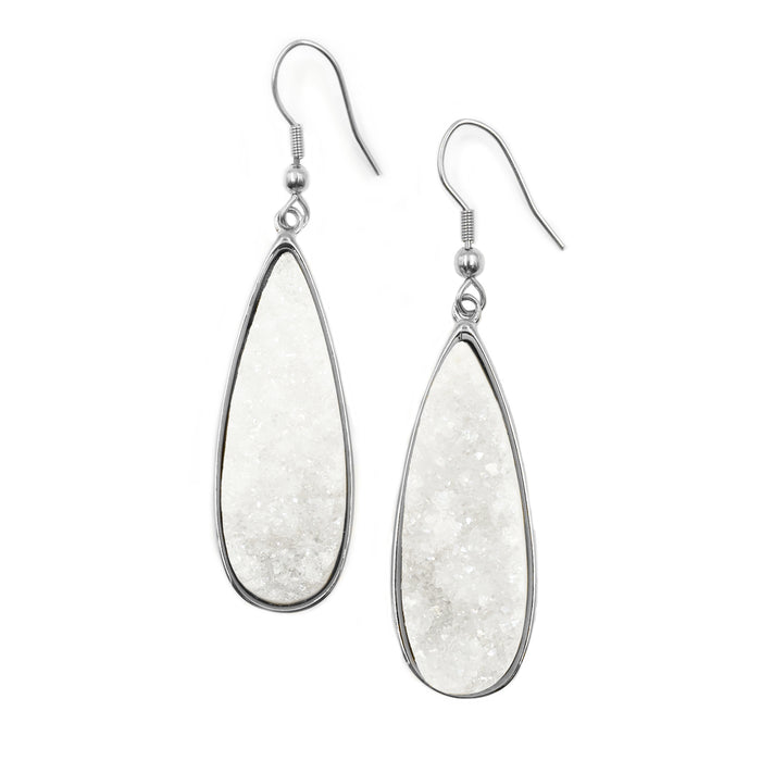 Druzy Collection - Silver Quartz Drop Earrings