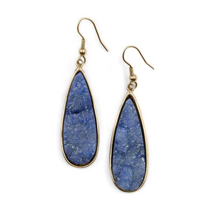 Druzy Collection - Denim Quartz Drop Earrings (Unique)