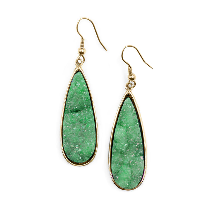 Druzy Collection - Jade Quartz Drop Earrings (Unique)
