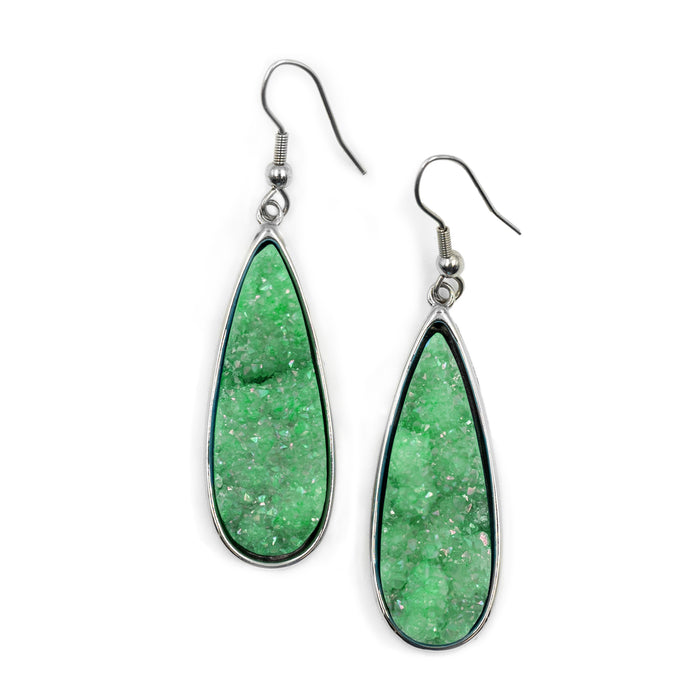 Druzy Collection - Silver Jade Quartz Drop Earrings (Unique)
