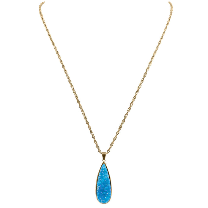 Druzy Collection - Azure Quartz Drop Necklace