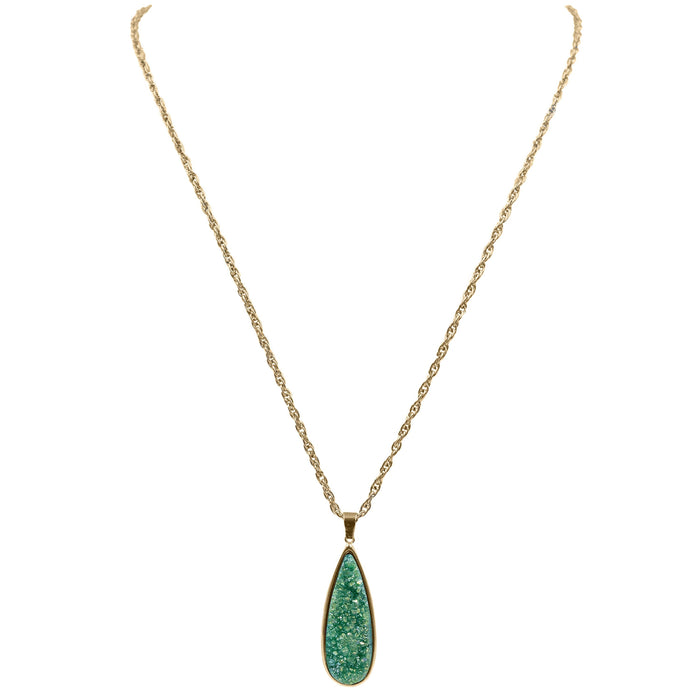 Druzy Collection - Jade Quartz Drop Necklace