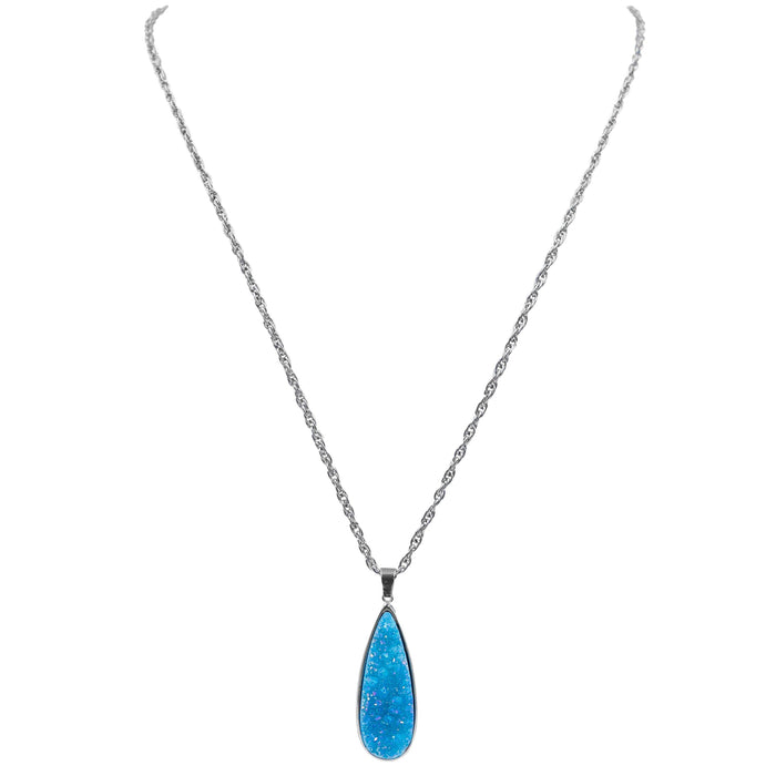 Druzy Collection - Silver Azure Quartz Drop Necklace