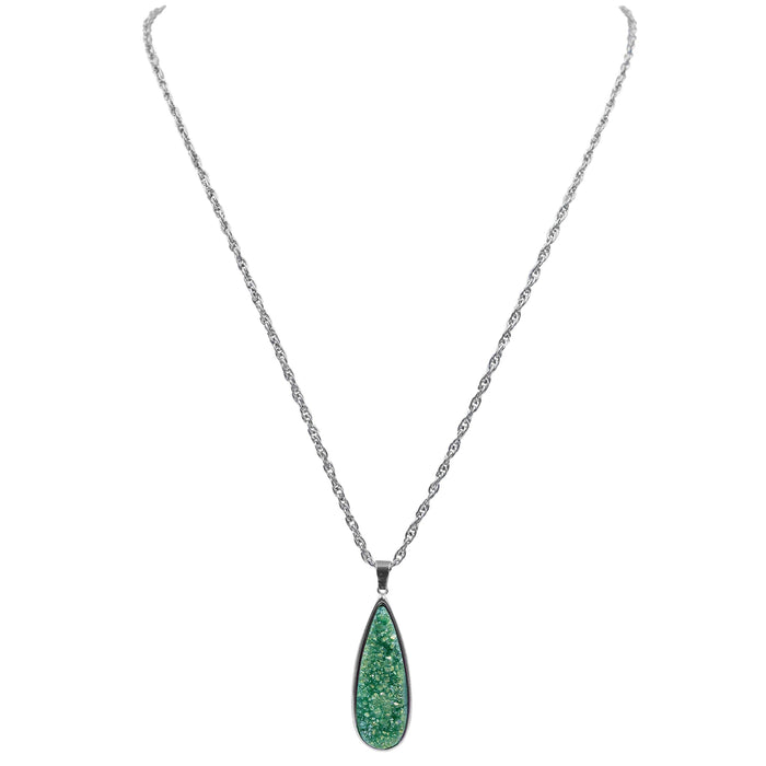 Druzy Collection - Silver Jade Quartz Drop Necklace