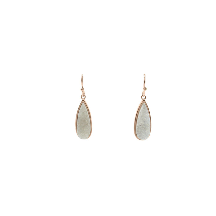 Druzy Collection - Rose Gold Petite Quartz Drop Earrings