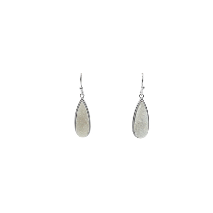 Druzy Collection - Petite Silver Quartz Drop Earrings (Unique)