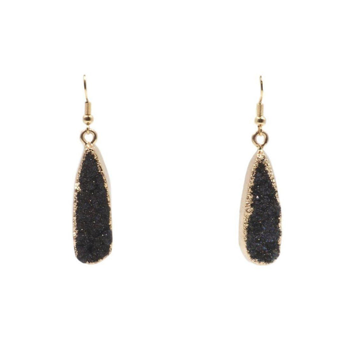 Druzy Collection - Raven Drop Earrings - Kinsley Armelle
