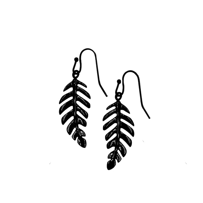Goddess Collection - Black Laurel Leaf Drop Earrings