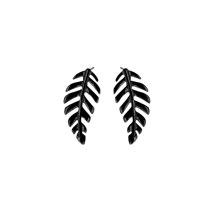 Goddess Collection - Black Laurel Leaf Stud Earrings