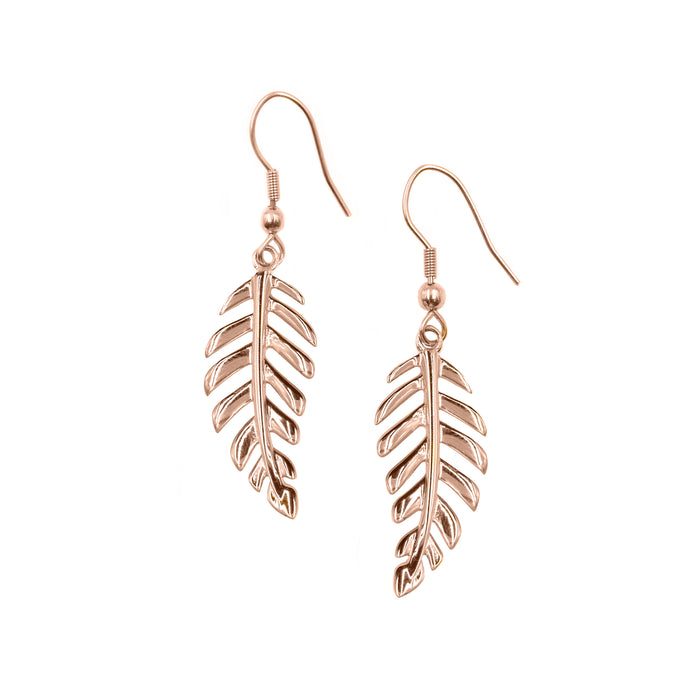 Goddess Collection - Rose Gold Laurel Leaf Drop Earrings