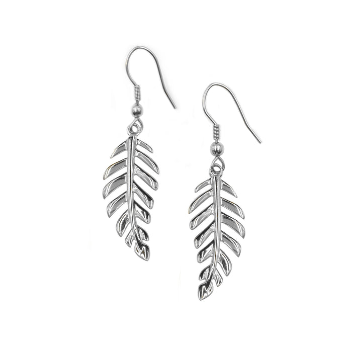 Goddess Collection - Silver Laurel Leaf Drop Earrings