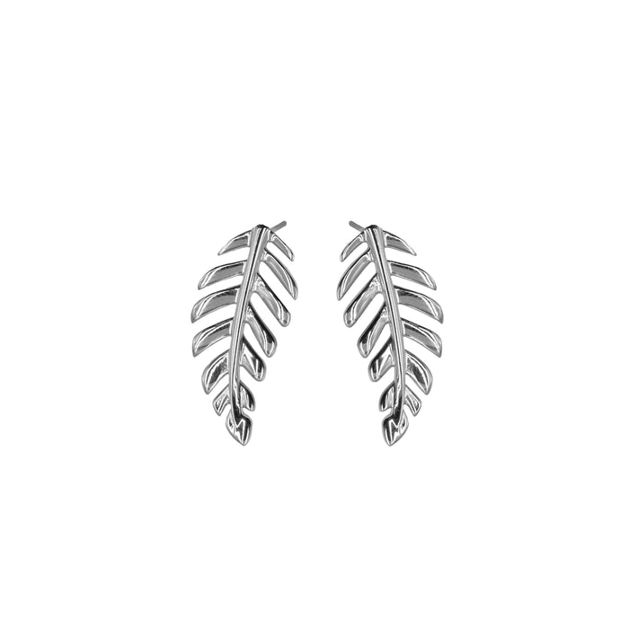 Goddess Collection - Silver Laurel Leaf Stud Earrings