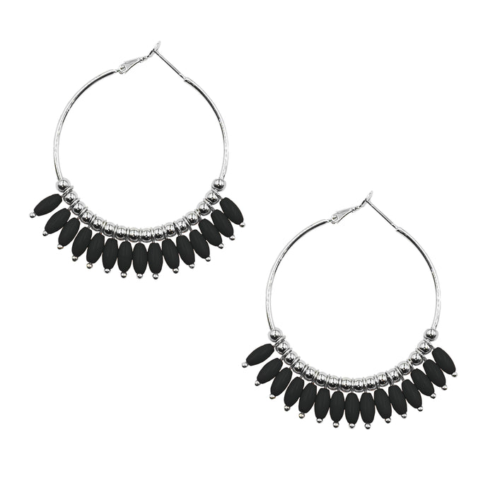Mariana Collection - Silver Coal Earrings