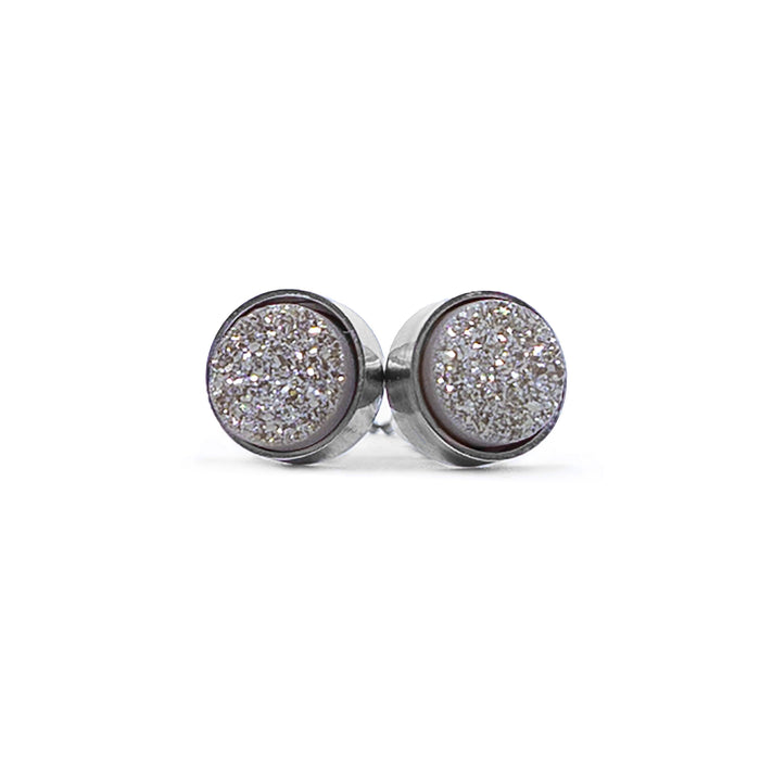 Regal Collection - Silver Smoky Stud Earrings