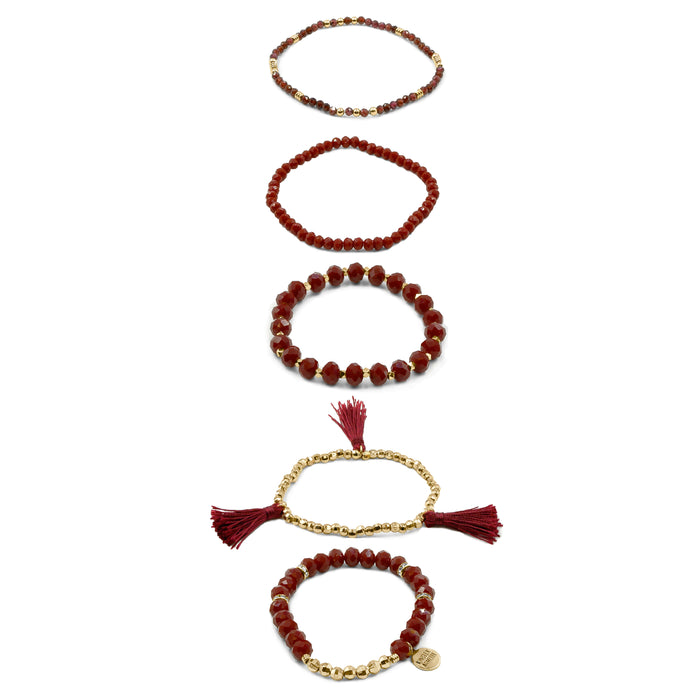 Stacked Collection - Maroon Bracelet Set