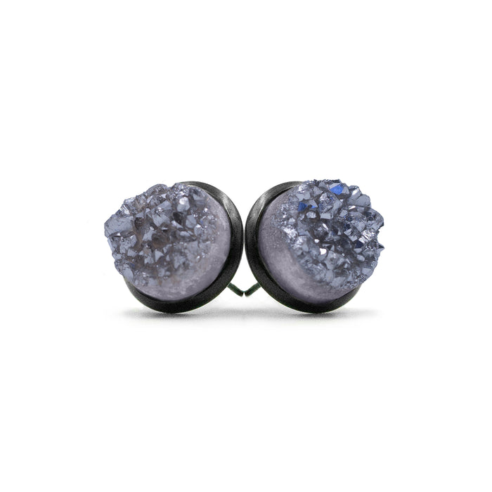 Stone Collection - Black Stormy Quartz Stud Earrings