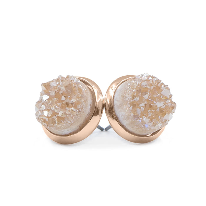 Stone Collection - Rose Gold Amber Quartz Stud Earrings