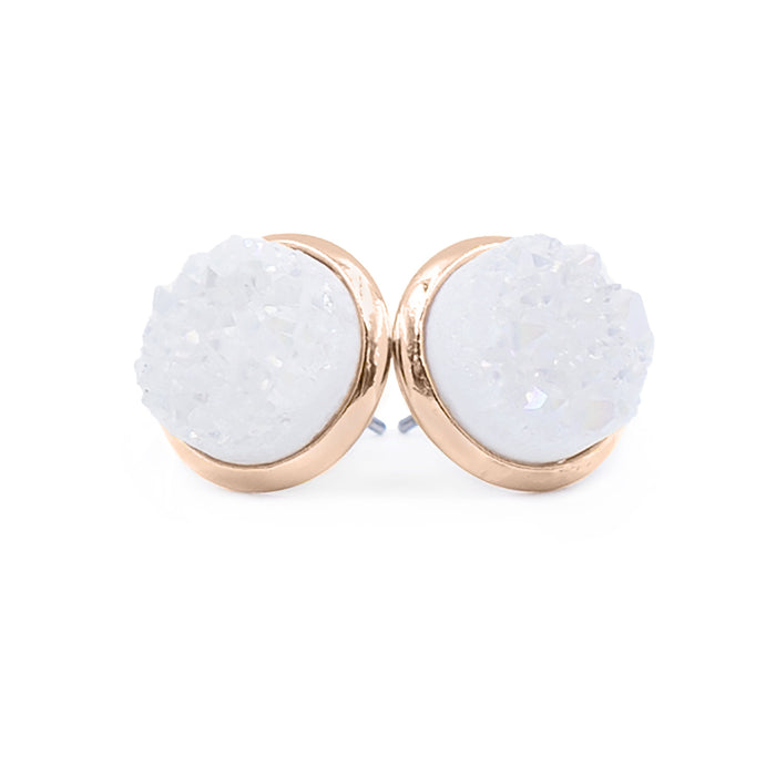 Stone Collection - Rose Gold Pearl Quartz Stud Earrings