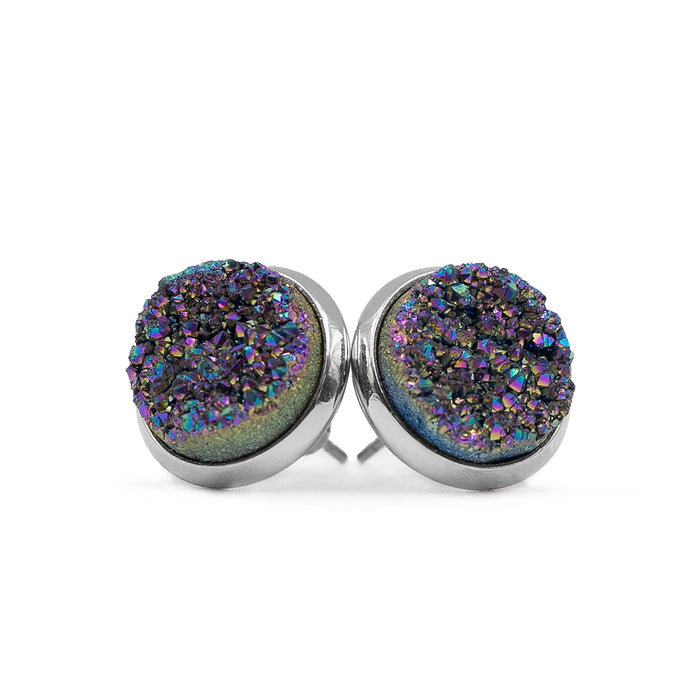 Stone Collection - Silver Elara Cosmic Quartz Stud Earrings