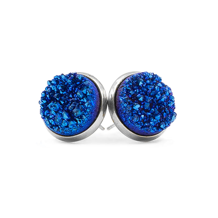 Stone Collection - Silver Ondine Blue Quartz Stud Earrings