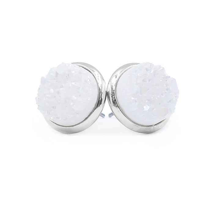 Stone Collection - Silver Pearl Quartz Stud Earrings