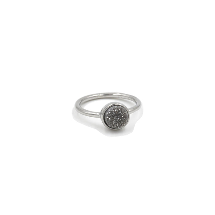 Stone Collection - Silver Slate Quartz Ring