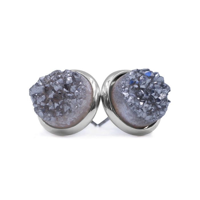 Stone Collection - Silver Stormy Quartz Stud Earrings