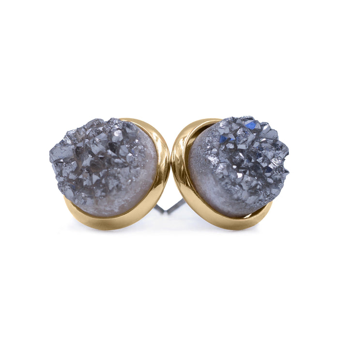 Stone Collection - Stormy Quartz Stud Earrings
