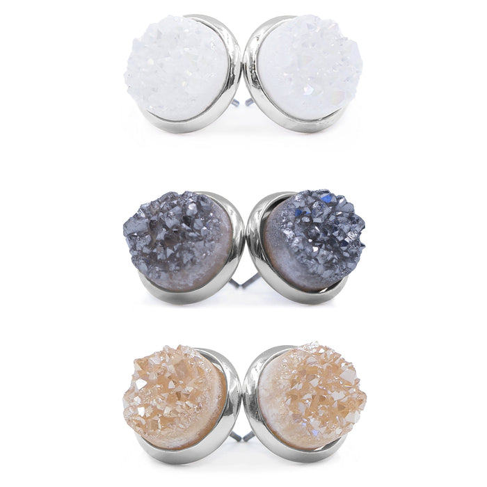 Stone Collection - Silver Quartz Earrings Set