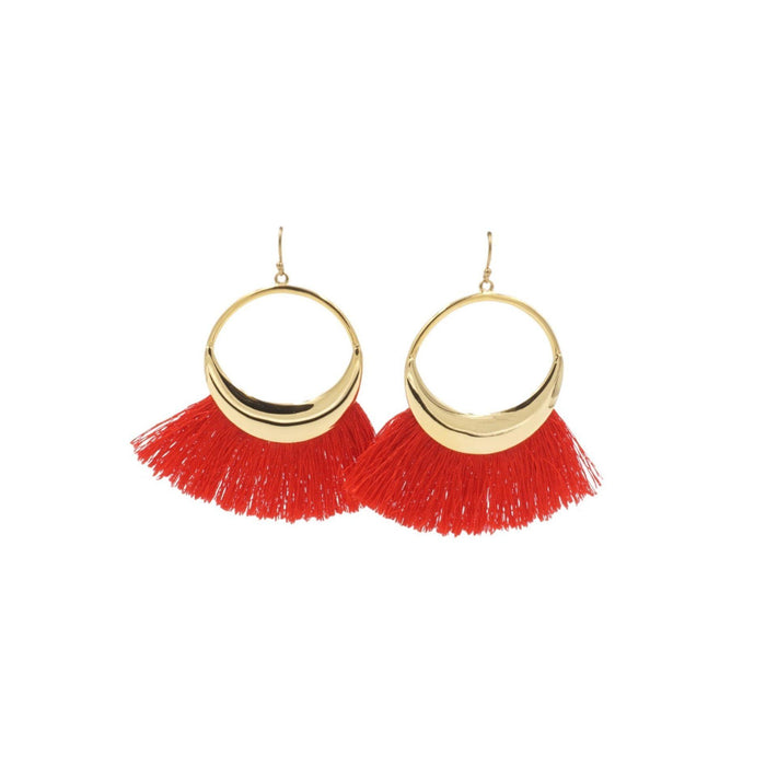 Tassel Collection - Cherry Red Hoop Fringe Earrings