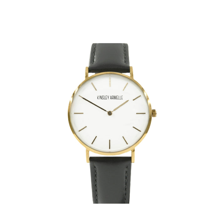 Tempus Collection - Gold Ashen Gray Leather Watch
