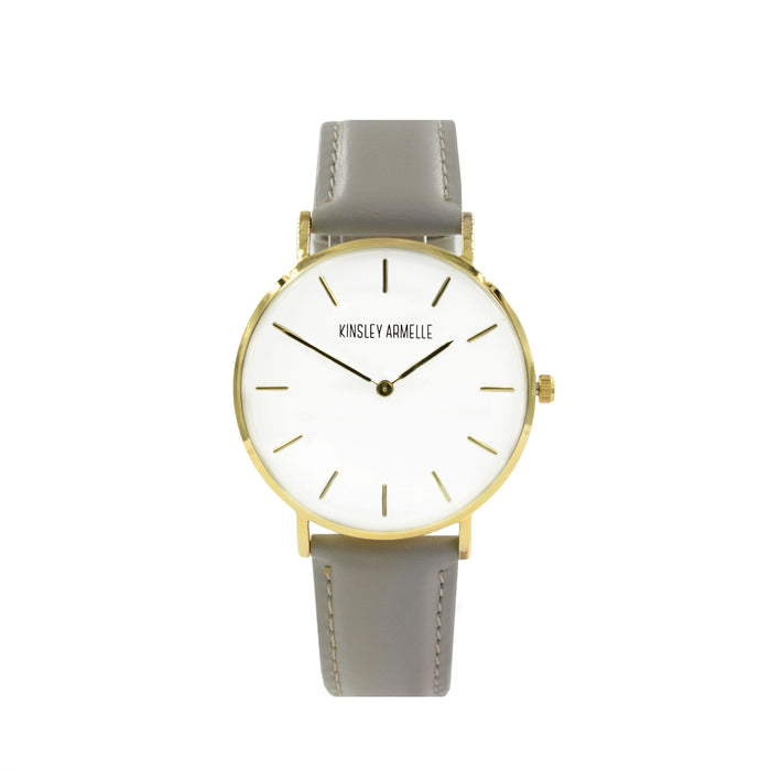 Tempus Collection - Gold Ashen Taupe Leather Watch