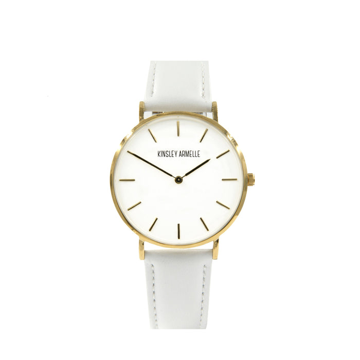 Tempus Collection - Gold Ashen White Leather Watch