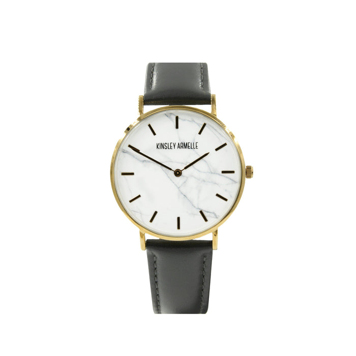 Tempus Collection - Gold Marble Gray Leather Watch