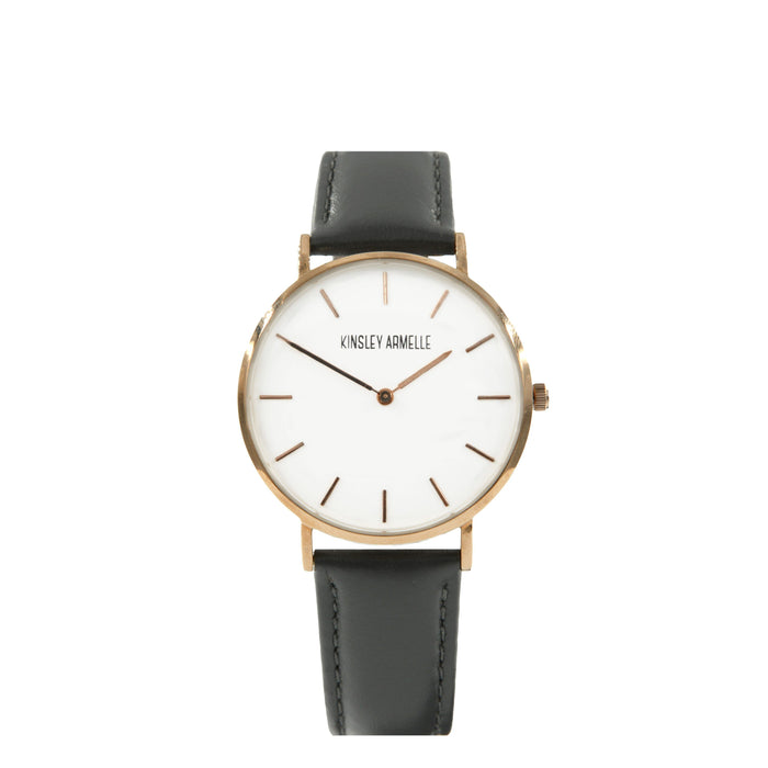 Tempus Collection - Rose Gold Ashen Gray Leather Watch