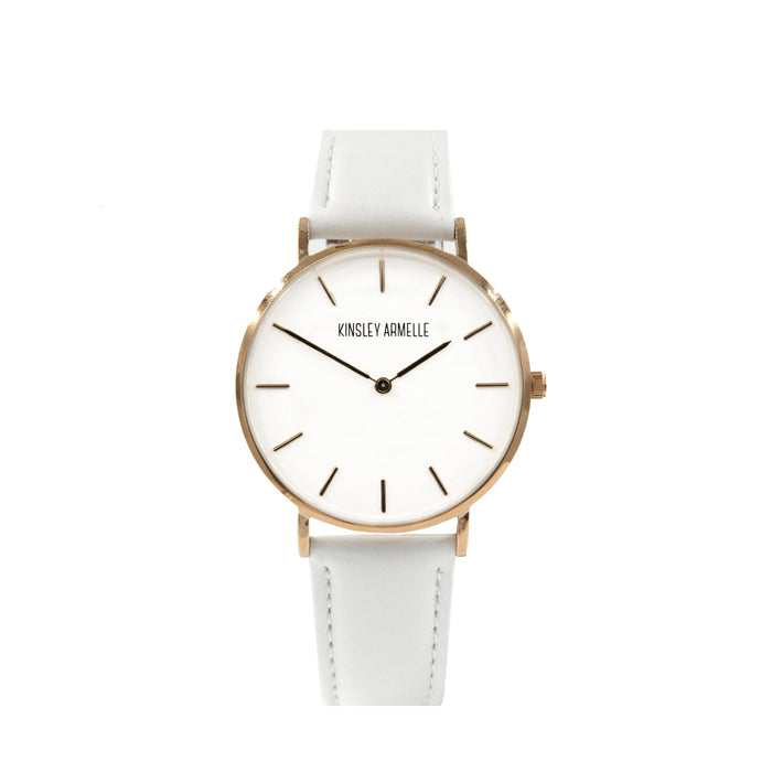 Tempus Collection - Rose Gold Ashen White Leather Watch