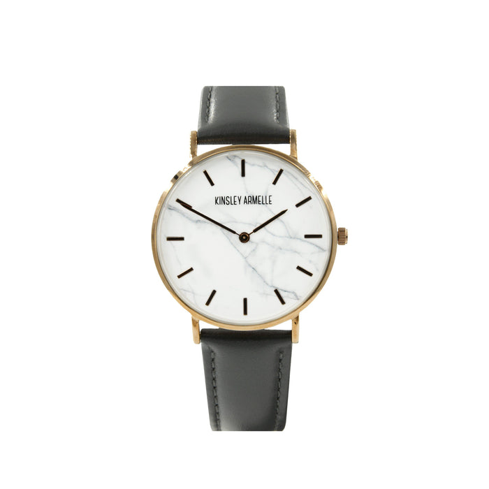 Tempus Collection - Rose Gold Marble Gray Leather Watch