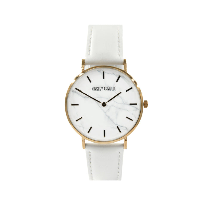 Tempus Collection - Rose Gold Marble White Leather Watch