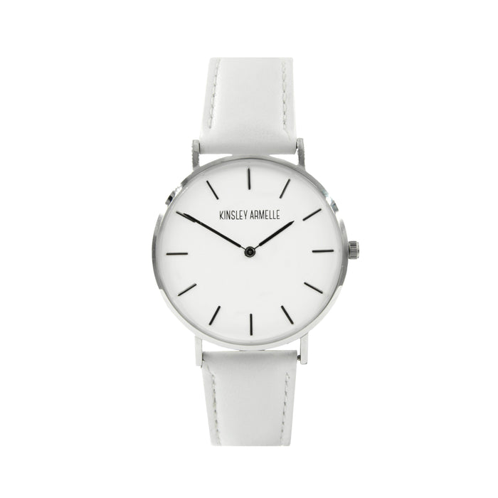 Tempus Collection - Silver Ashen White Leather Watch