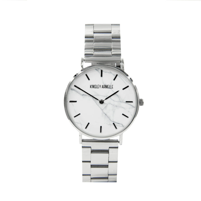 Tempus Collection - Silver Marble Steel Watch