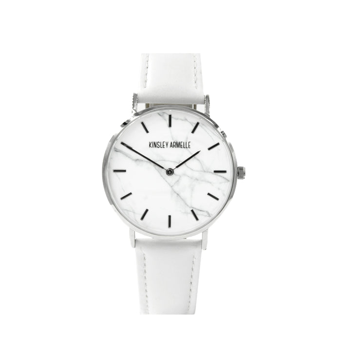 Tempus Collection - Silver Marble White Leather Watch