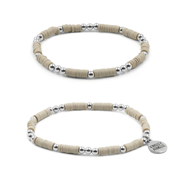 Thora Collection - Silver Taupe Bracelet Set