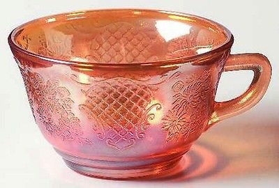 Normandie Depression Pink Glass Teacups (6)