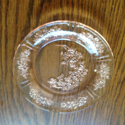 Sharon Rose Pink Depression Glass Cabbage Rose Bread and Butter Plates
