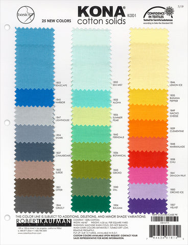 2019 Kona Colour Chart Add-On - Kona Solids - Craft de Ville