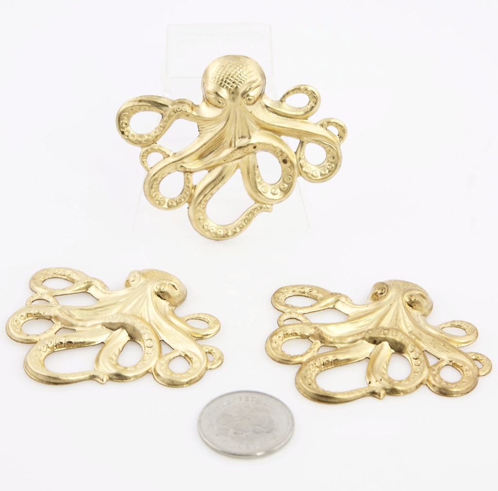 Stamped Octopus - Gold - Beads & Findings - Craft De Ville - Craft de Ville